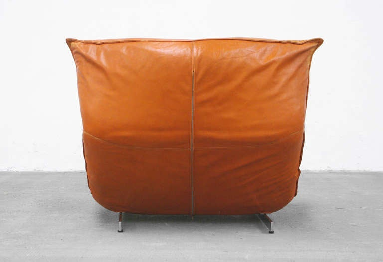 Lounge Chair by Vittorio Varo Italy Design Chatpard Cognac Leather, 1970s 6
