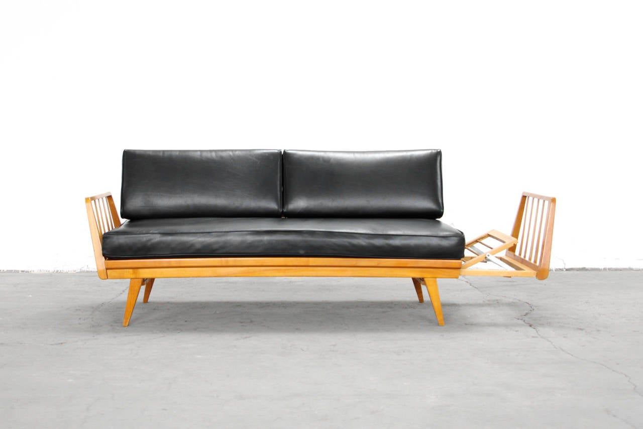 cherry and leather sofa by knoll antimott mid century. Black Bedroom Furniture Sets. Home Design Ideas