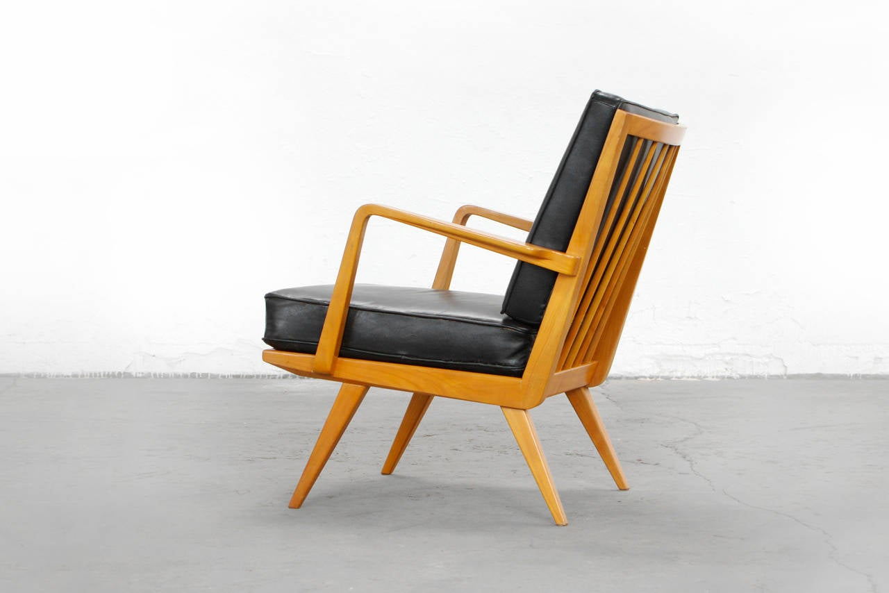 leather and teak easy chair by walter knoll antimott 1950s 1960s at 1stdibs. Black Bedroom Furniture Sets. Home Design Ideas