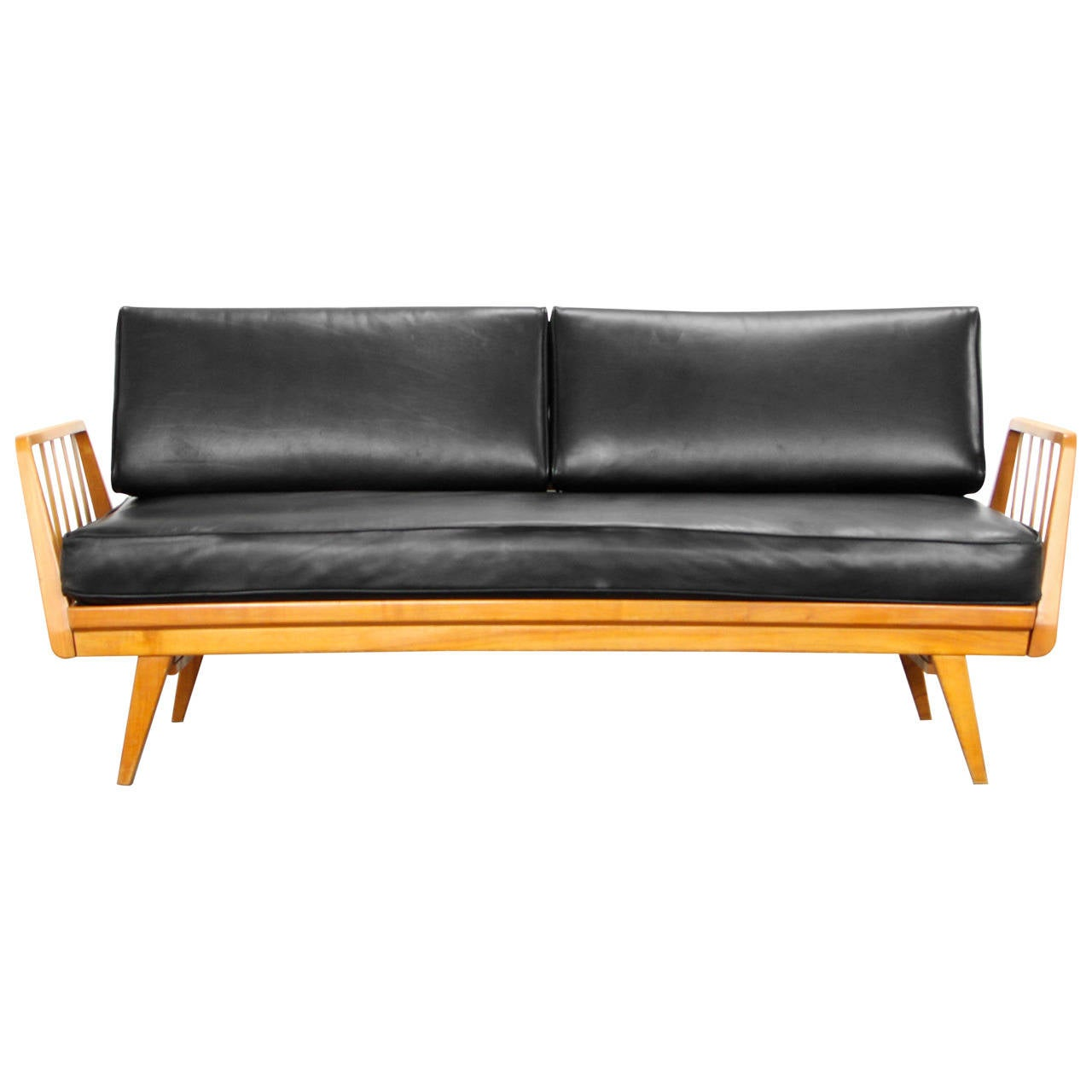 Cherry and leather sofa by knoll antimott mid century for Mid century modern leather chairs