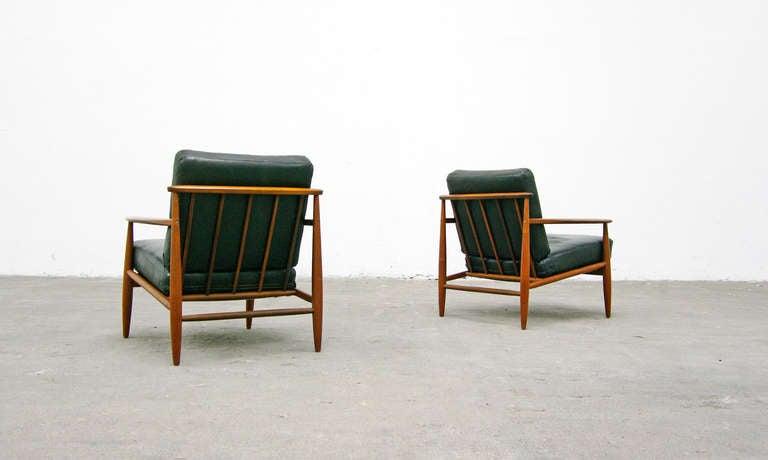 2 easy chair mid century danish modern design teal. Black Bedroom Furniture Sets. Home Design Ideas