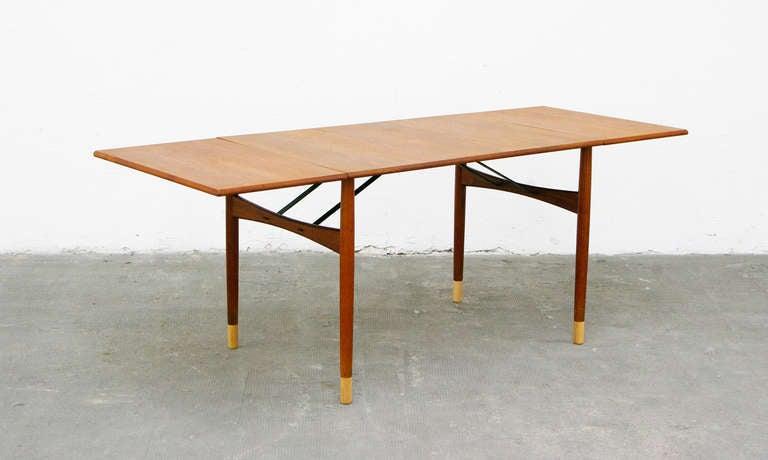 dining table by ejnar larsen teak drop leaf mid century. Black Bedroom Furniture Sets. Home Design Ideas