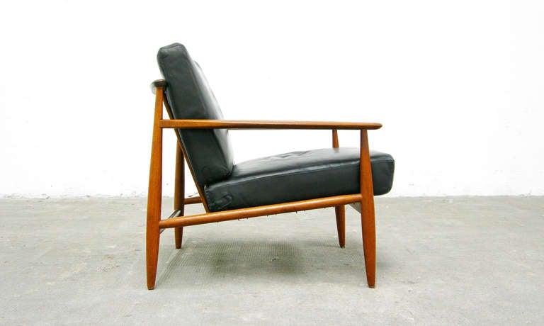 2 Easy Chair Mid Century Danish Modern Design Teal Leather 60s 60er Denmark