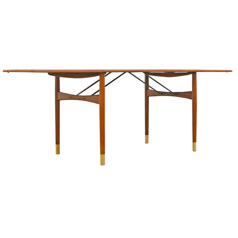 Dining table by Ejnar Larsen Teak drop leaf Mid Century  : 1184542l from 1stdibs.com size 768 x 768 jpeg 17kB