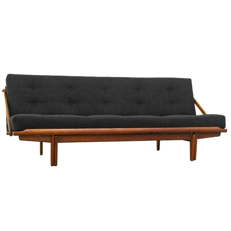 Sofa daybed by poul m volther teak mid century danish for Mid century modern day bed