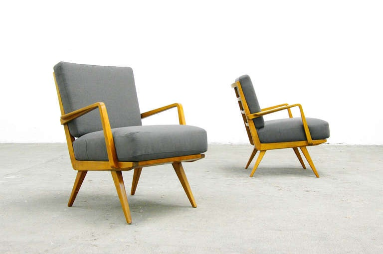 two easy chairs by wilhelm knoll mid century modern. Black Bedroom Furniture Sets. Home Design Ideas