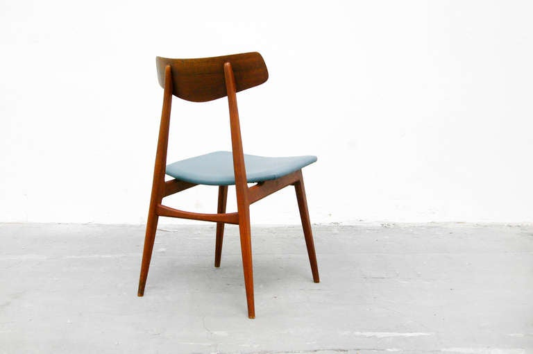 Six dining chairs by habeo germany in teak and leather