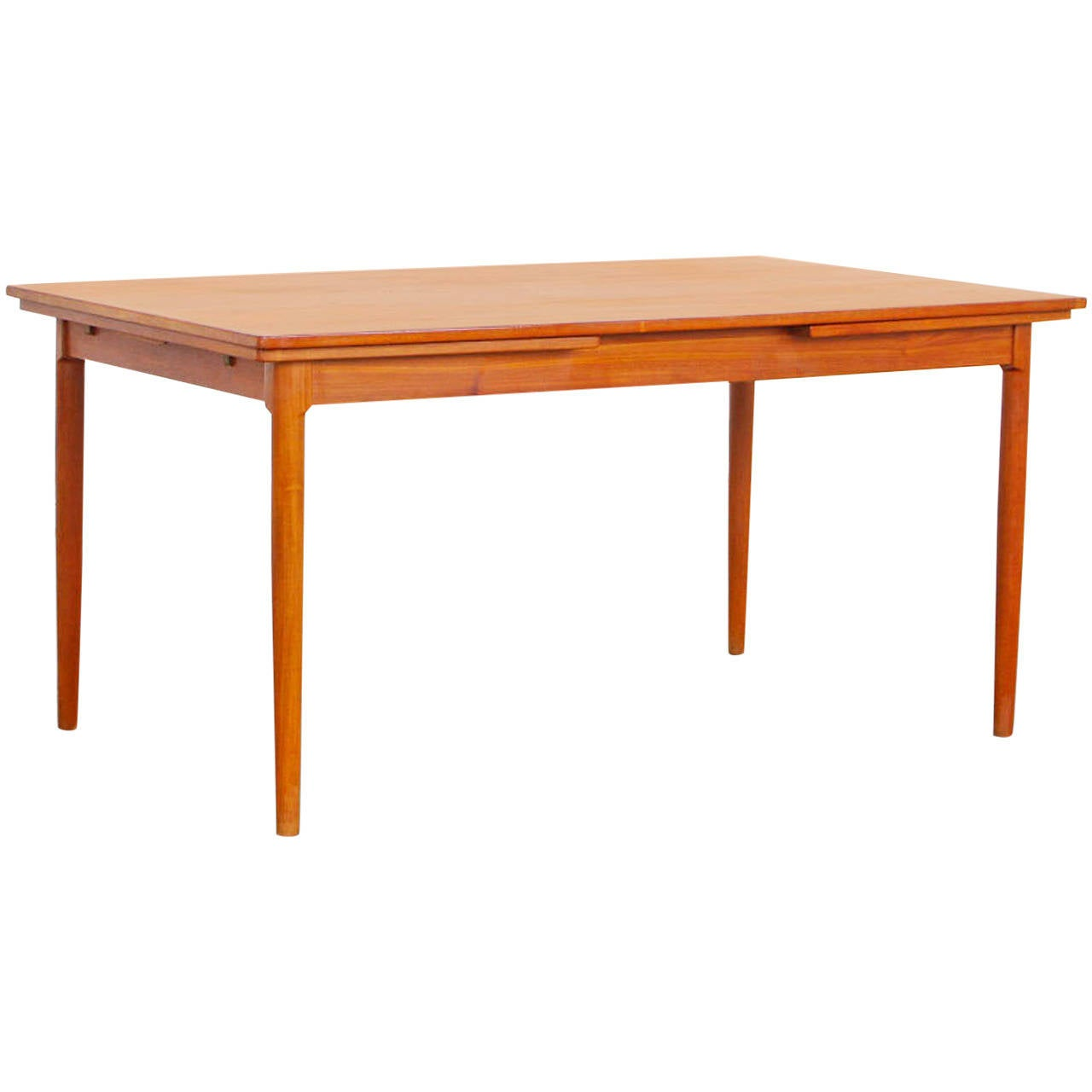 expandable teak dining table attr to harry ostergaard at 1stdibs. Black Bedroom Furniture Sets. Home Design Ideas