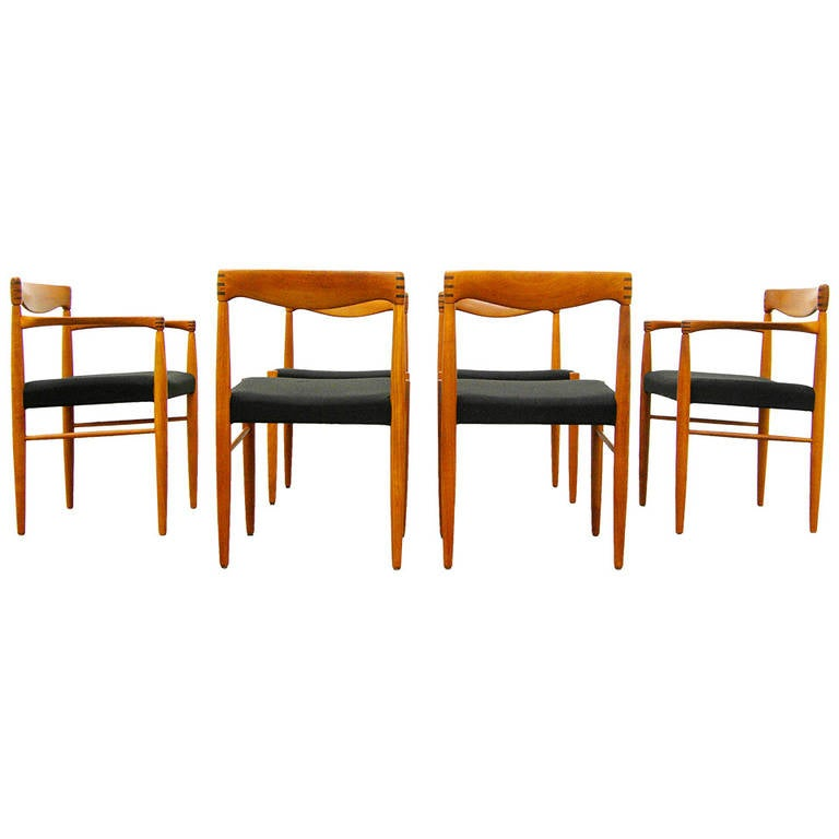 six teak dining chairs by h w klein for bramin danish modern design