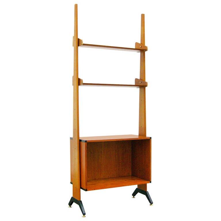 mid century modern design teak shelving system attributed. Black Bedroom Furniture Sets. Home Design Ideas