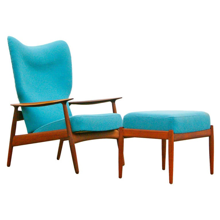 Lounge Chair And Ottoman By K Rasmussen Mid Century Modern Design Teak At