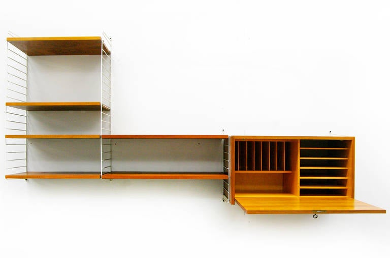 mid century modern wall unit by nisse strinning string. Black Bedroom Furniture Sets. Home Design Ideas