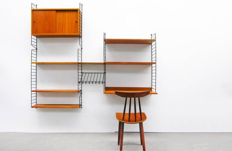 Mid-Century Modern Wall Unit by Nisse Strinning String Teak Shelving System  3