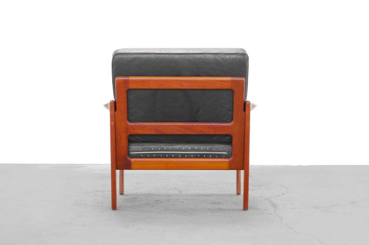 set of teak easy chairs by illum wikkelsoe danish modern. Black Bedroom Furniture Sets. Home Design Ideas
