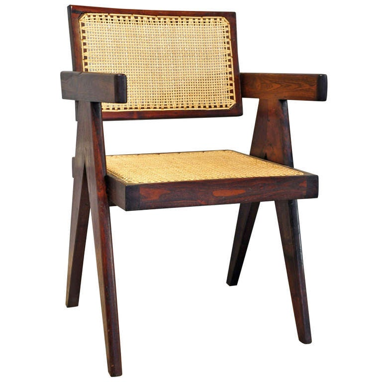 Black leather wing chair - Office Cane Chair By Pierre Jeanneret At 1stdibs
