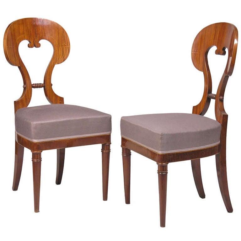 Pair Of Viennese Biedermeier Chairs At 1stdibs