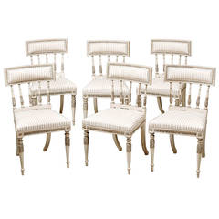 Set of Six Late 18th c. Swedish Gustavian Painted Dining Chairs