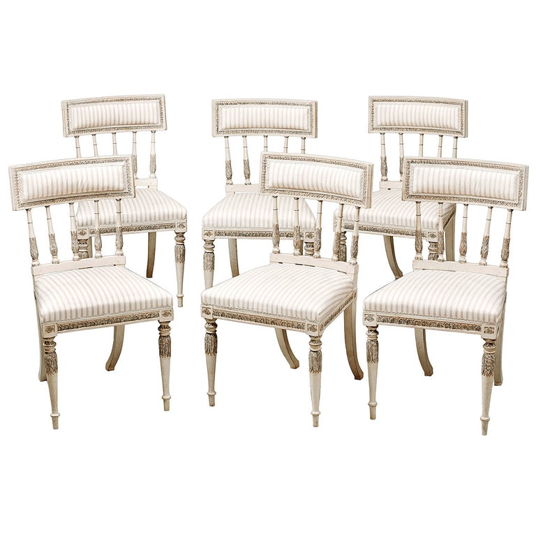 Set of Six Late 18th Century Swedish Gustavian Painted Dining Chairs For Sale