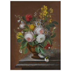 Early 19th Century German Biedermeier Flower Still-Life, Berlin, 1829