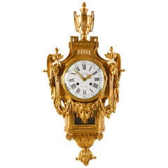 18th Century Neoclassical French Louis XVI Gilt Bronze Cartel Clock