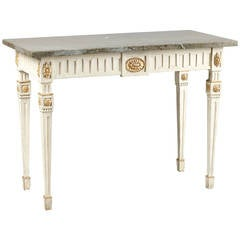 Gustavian Late 18th Century Neoclassical Swedish, White-Painted Console Table