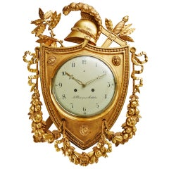 Superb Early 19th Century Swedish Empire Giltwood Wall Clock Signed Cedergren