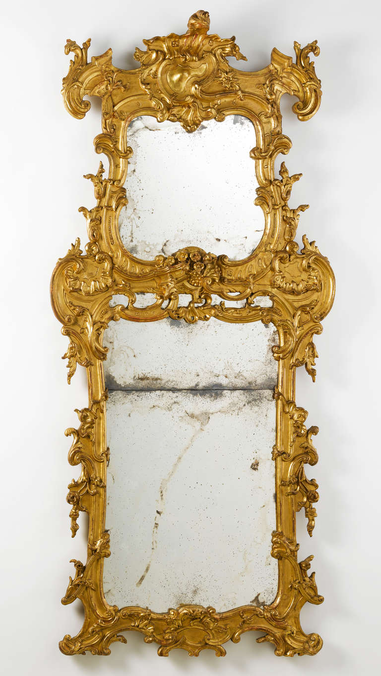 Large and unusal 18th c italian baroque pier mirror for for Baroque mirror