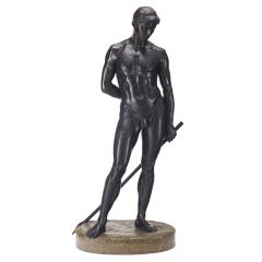 German Lifesize Bronze Statue of Adonis