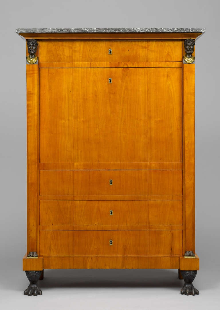 Swiss Early 19th Century Empire Bureau Cabinet, Signed Hirschgartner 4