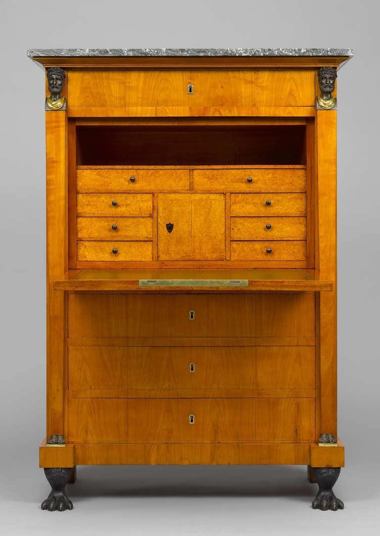 Swiss Early 19th Century Empire Bureau Cabinet, Signed Hirschgartner 2