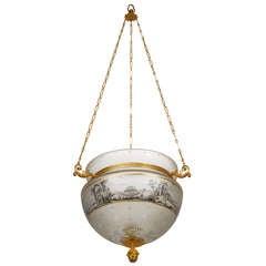 Russian Early 19th Century Empire Glass Hall Lantern