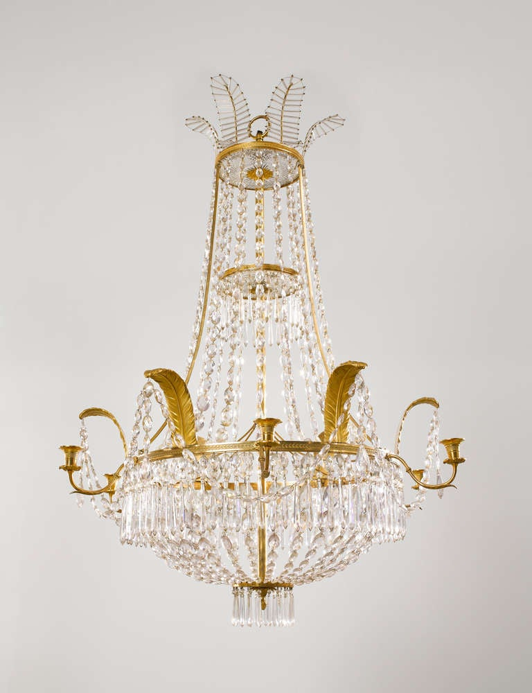 French Empire Early 19th c. Cut Glass and Gilt-Bronze Chandelier 2