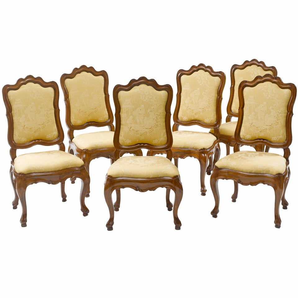Set of Six 18th Century Italian Baroque Dining Chairs