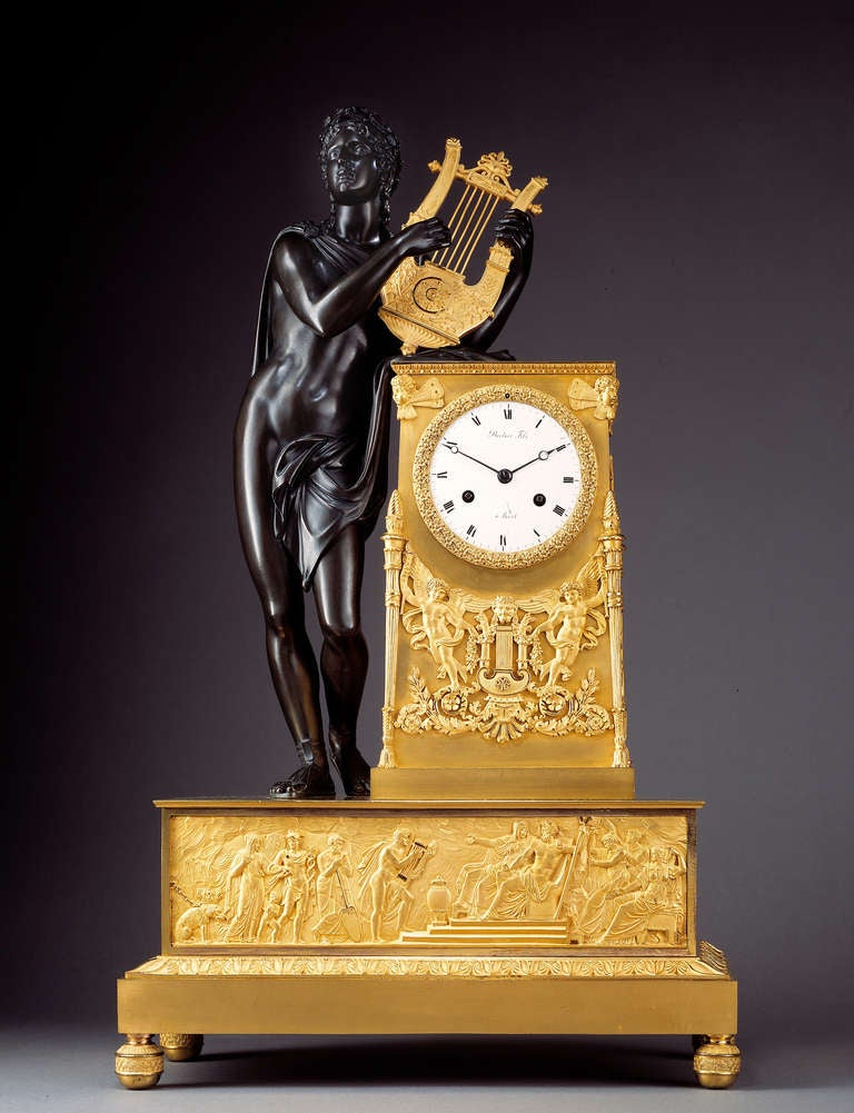 French Empire Early 19th c. Mantel Clock 'Apollo Playing the Lyre' 2