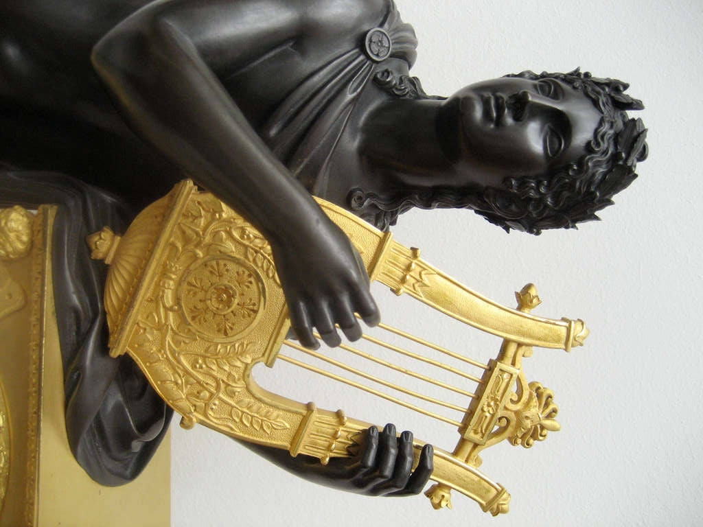 French Empire Early 19th c. Mantel Clock 'Apollo Playing the Lyre' 3