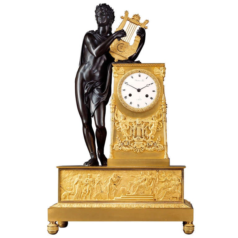 French Empire Early 19th c. Mantel Clock 'Apollo Playing the Lyre' 1