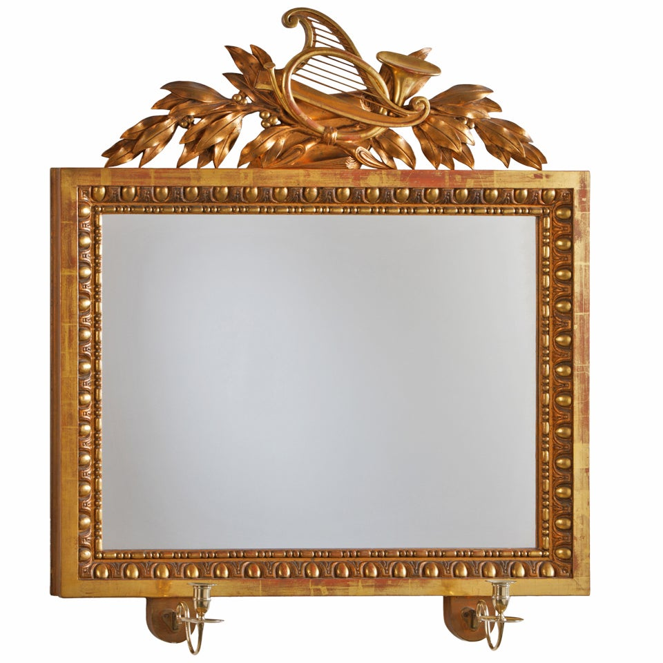 Swedish Empire Early 19th Century Girandole Mirror