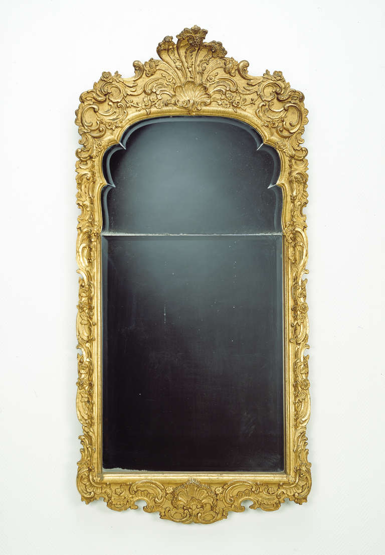 Large german 18th c giltwood baroque wall mirror for sale for Baroque mirror