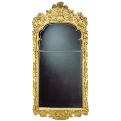 Large German 18th Century Giltwood Baroque Wall Mirror