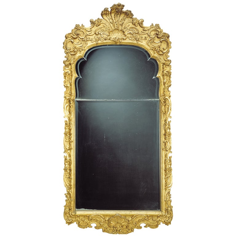 Large German 18th Century Giltwood Baroque Wall Mirror For Sale