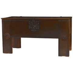 "17th Century German Iron-Mounted Oak Chest / Trunk ""Stollentruhe"""