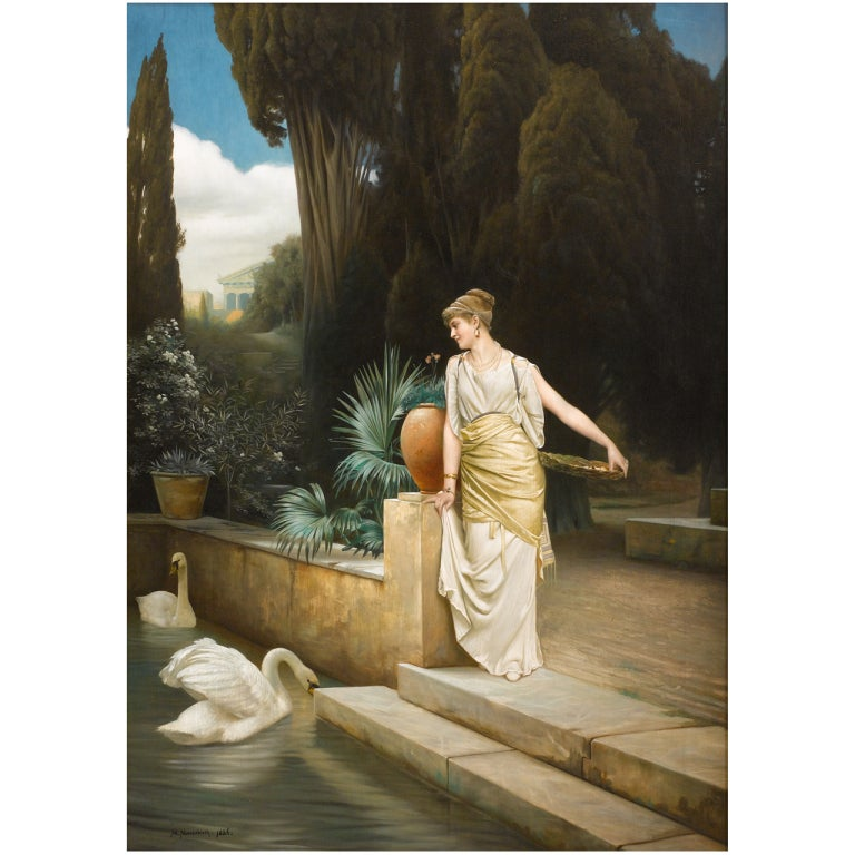"""Lady At The Swanlake"" - Large 19th Century German Painting by Max Nonnenbruch"