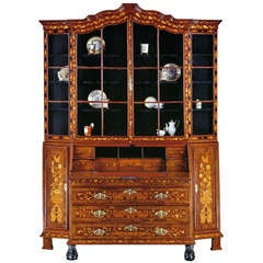Early 19th Century Dutch Floral Marquetry Bureau Display Cabinet