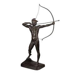 """Große Bronzefigur """"Bogenschütze"""" von Ernst Moritz Geyger, Berlin, Deutschland"""