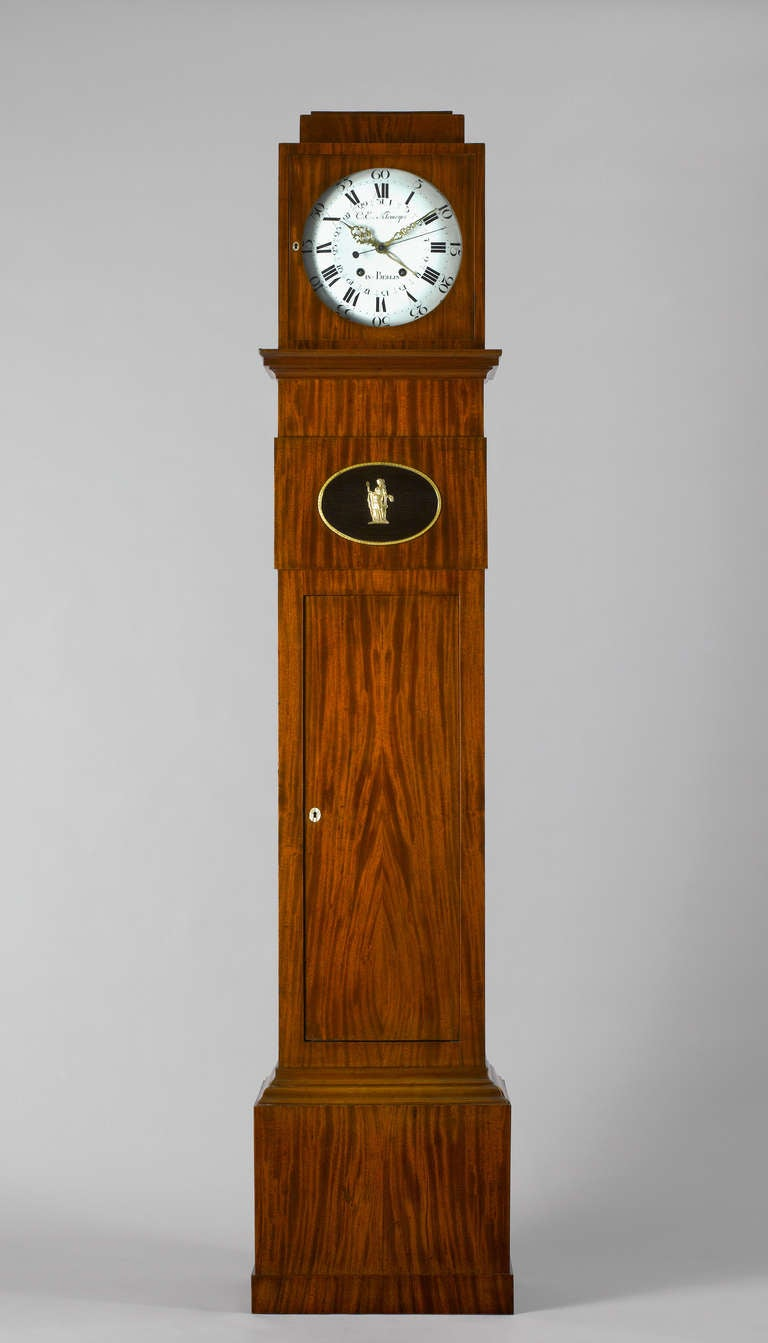German Late 18th c.Neo-Classical Mahogany Long-Case Clock Berlin 2