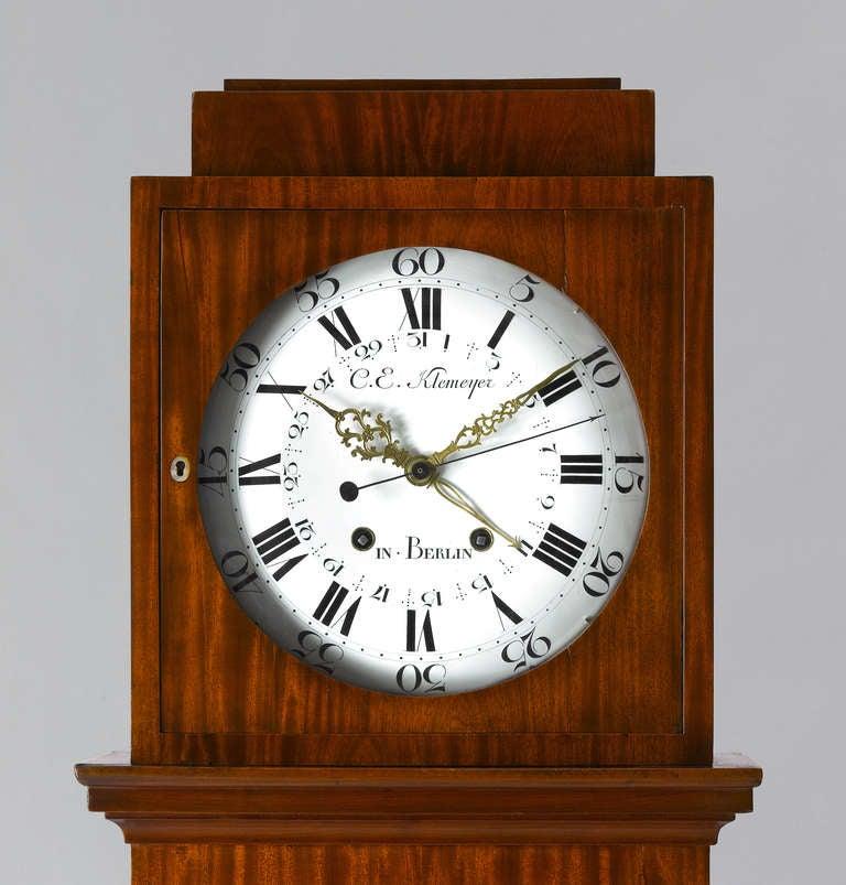 German Late 18th c.Neo-Classical Mahogany Long-Case Clock Berlin 4