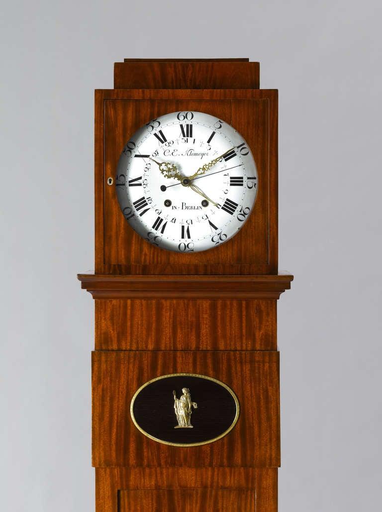 German Late 18th c.Neo-Classical Mahogany Long-Case Clock Berlin 3