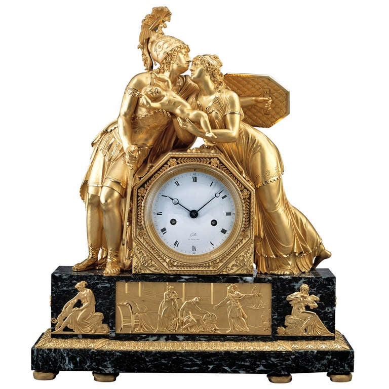 Important French Early 19th Century Empire Gilt Bronze Mantel Clock For Sale