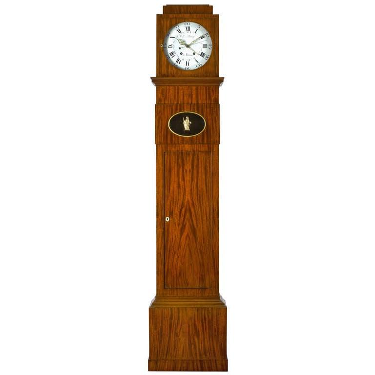 German Late 18th c.Neo-Classical Mahogany Long-Case Clock Berlin 1