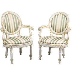 Two Danish 18th Century Neo-Classical White Painted Armchairs